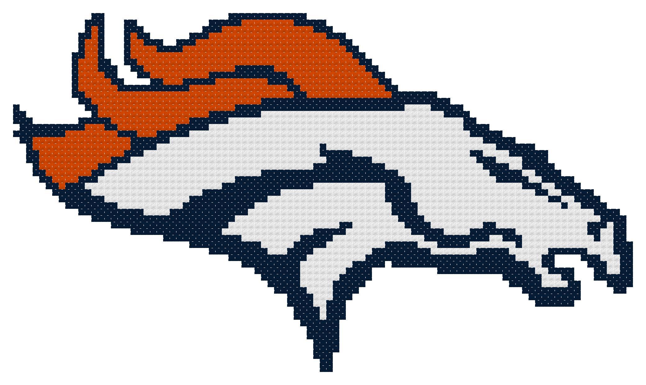 Counted Cross Stitch Pattern Denver Broncos Logo The Cross Stitch Guy